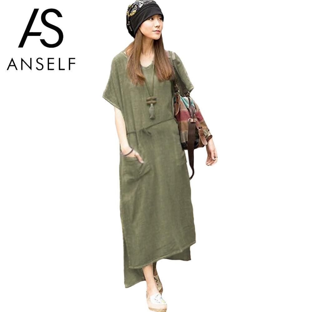 Anself Cotton Linen Dress Women Oversized Summer Retro Maxi