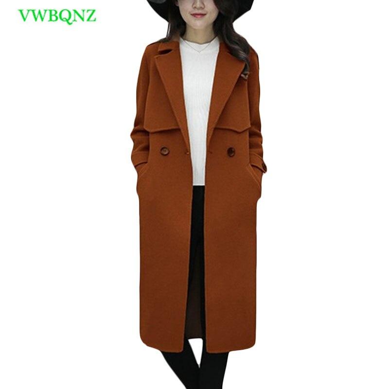 Women Korean Woolen Jacket Autumn Winter Loose Long Wool coat Women