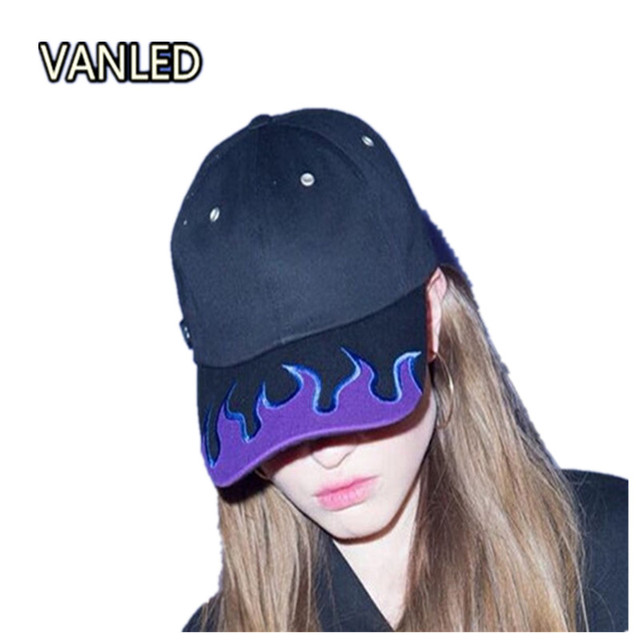 New Harajuku Stylish Punk Black Fire Flame Cool Hat Embroidery Unisex  Couple Baseball Caps Adjustable febca257318