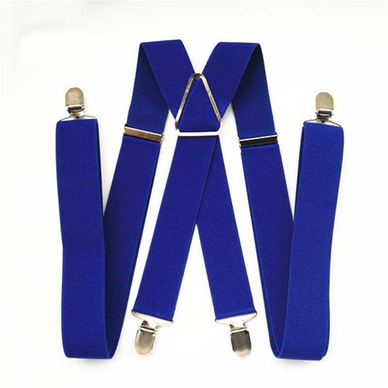 BD054-L XL size Royalblue Adult suspender 3.5 width 4 clips on women brace adjustable elastic X back pants suspender for men