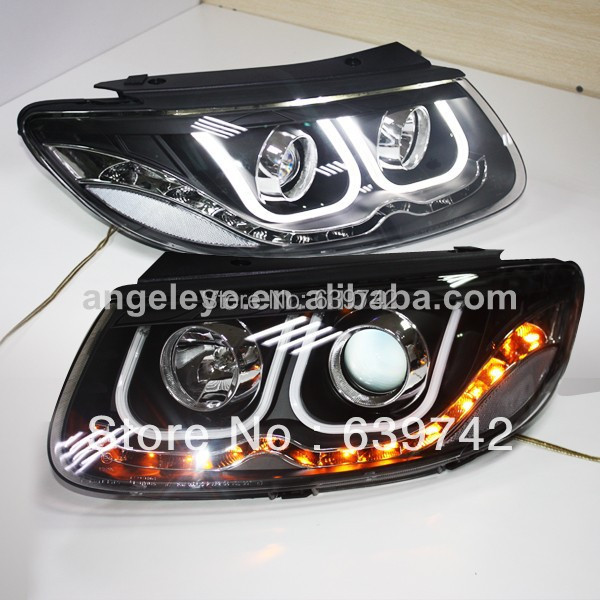 For Santa Fe LED U Style Angel eyes Head Lamp with Bi Xenon Projector Lens 2006-2012 Year LDV2 headlamps for santa fe 2006 2010 headlamp with bi xenon projector v1headlights