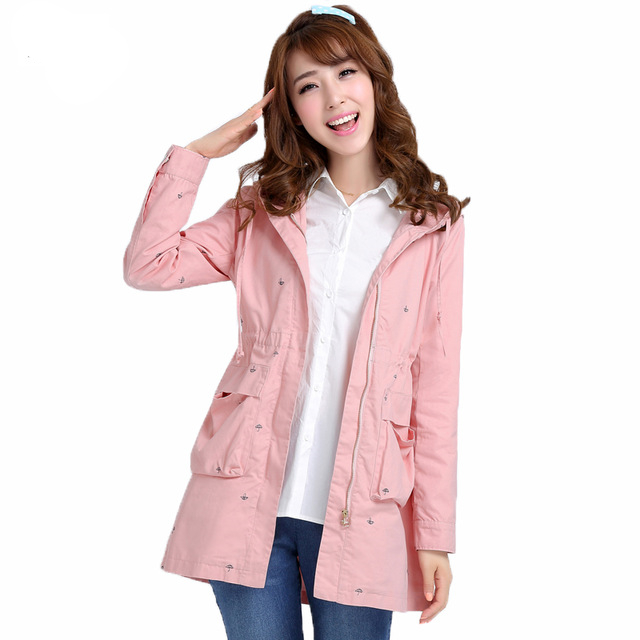 Fashion New 2019 Spring Autumn Womens Windbreakers Korean Loose Long-sleeve Hooded   Trench   Coat Casual Ladies Outerwear for Girls