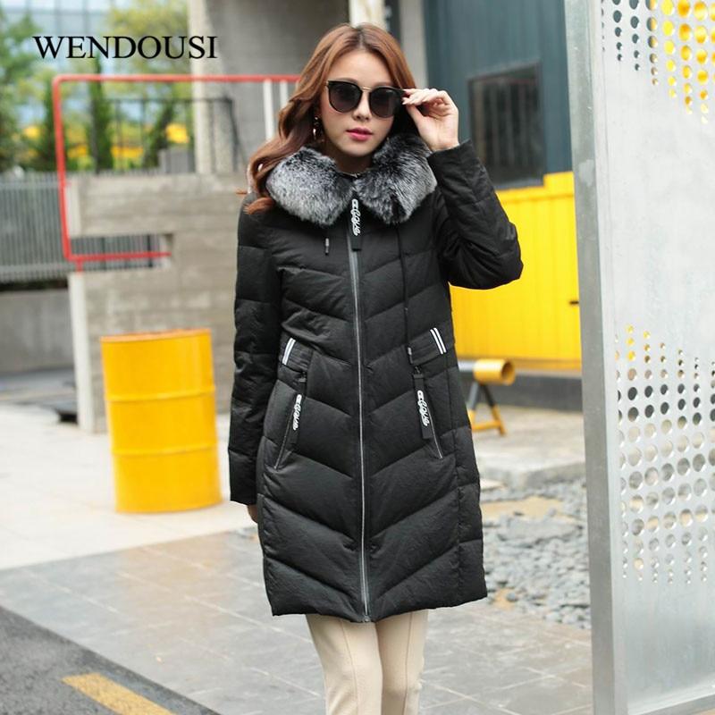 WENDOUSI Plus Size 5XL Women Down Jacket Thick Feminine Woman Warm Coat Big Fur Collar Hooded Female White Duck Down Coats YQ966