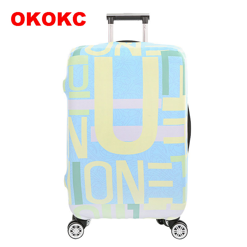 OKOKC Word Alignment Elastic Luggage Dust Cover Travel Accessories on Road Protective Thickest Suitcase Cover for 18-32inch