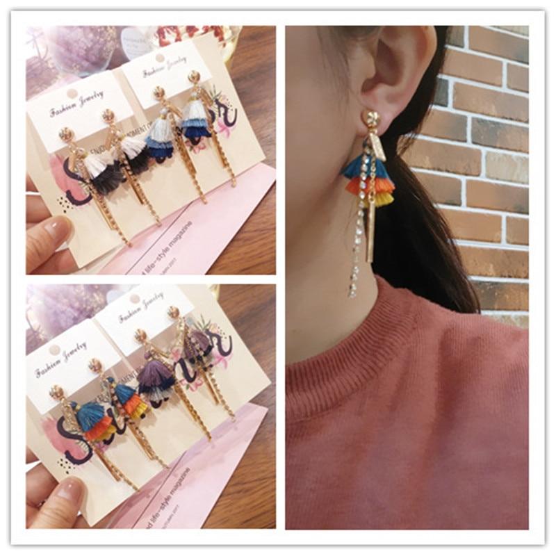 Korea New Handmade Cute Asymmetric Contrast Gradient Color Tassel Drop Earring Fashion Jewelry Accessories-JQD5