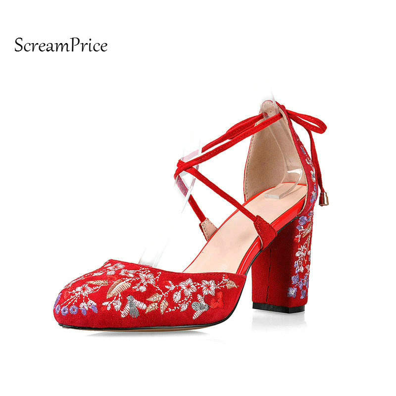 Suede Ethnic Embroidery Lace Up Thick High Heel Woman Pumps Fashion Embroider Dress High Heel Shoes Spring Autumn Woman Shoes цена