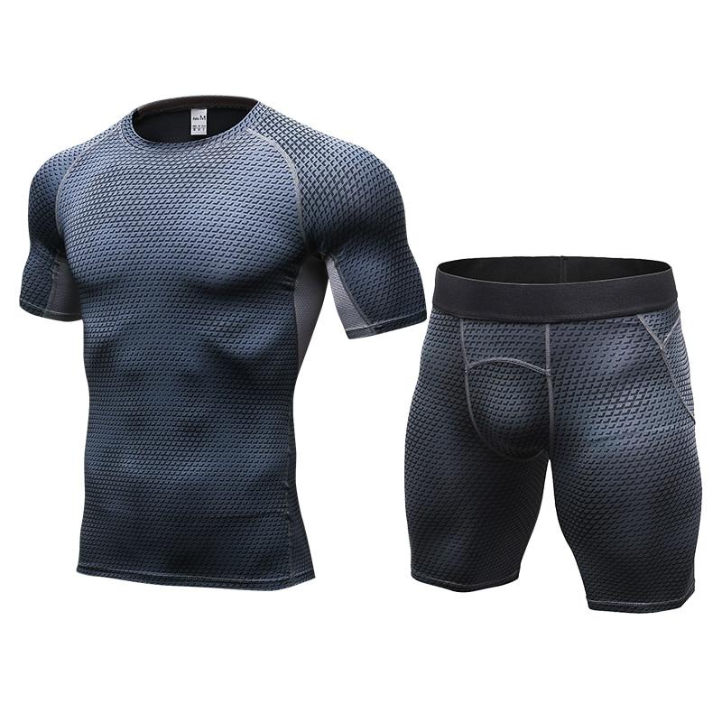 LoRun 2pcs set font b Mens b font Tracksuits Compression Sport Suit Sportswear Customs Breathable Demix