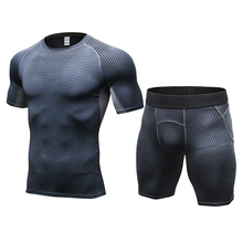 LoRun Mens Tracksuits Compression Sport Suit Tights Sportswear Customs Breathable Demix Running Sets Fitness Shirt Shorts