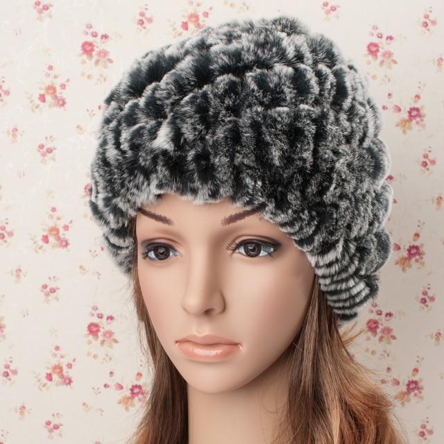 2016 женская осень-зима меховая шапка подлинная настоящее рекс кролика вязаная шапка зима теплая шапочки колпачок для женщин