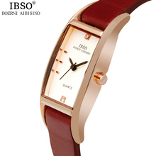 IBSO Brand Fashion Women Watches 2017 High Quality Genuine Leather Strap Quartz Watch Women Crystal Diamonds Montre Femme