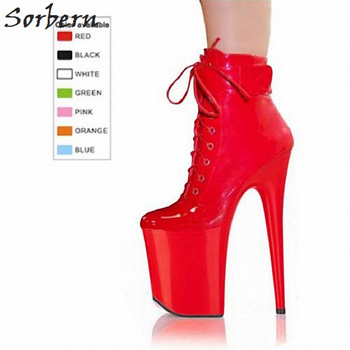 Sorbern Spike Super High Heels Ankle Boots Cross-Tied Zipper Patent Leather Platform Fashion Shoes For Women Custom Color Boots