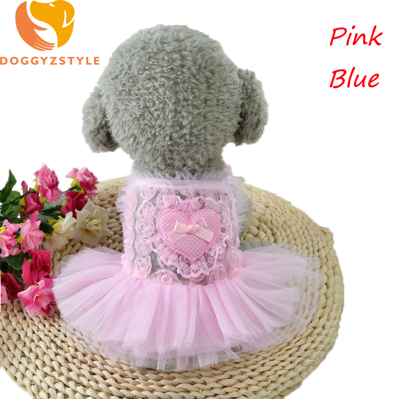 Princess Dog Dress Summer Pet Puppy Cat Clothes Wedding Short Shirt Net Yarn Heart Dresses For Small Dogs Costumes DOGGYZSTYLE