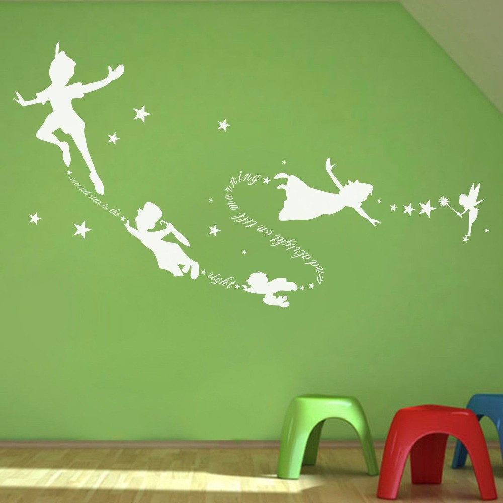 Poomoo Wall Stickerstinkerbell Peter Pan Wall Decal Removable Kid