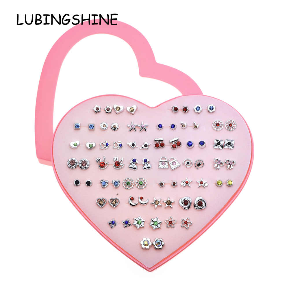 LUBINGSHINE Cute Gold Silver Color 36 pairs/set Women Stud Earrings sets Child Crystal Heart Earring Fashion Jewelry Gift