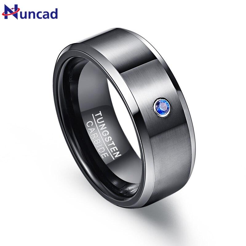Nuncad Men's 8mm Black Brushed Blue Cubic Zirconia Tungsten Wedding Band Rings Polished Beveled Edge Size 7-12