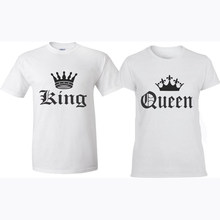 c3ac9a14 EnjoytheSpirit KING and QUEEN T-shirts Couple Matching Funny Lover Top Tee  Good Quality Cotton
