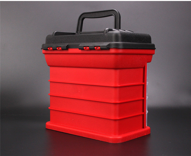 New 4 Layers Fishing Tackle Box Strong ABS Plastic Fishing Tools Container Big Fishing Accessories Box 27x17x26cm 4 Colors (25)