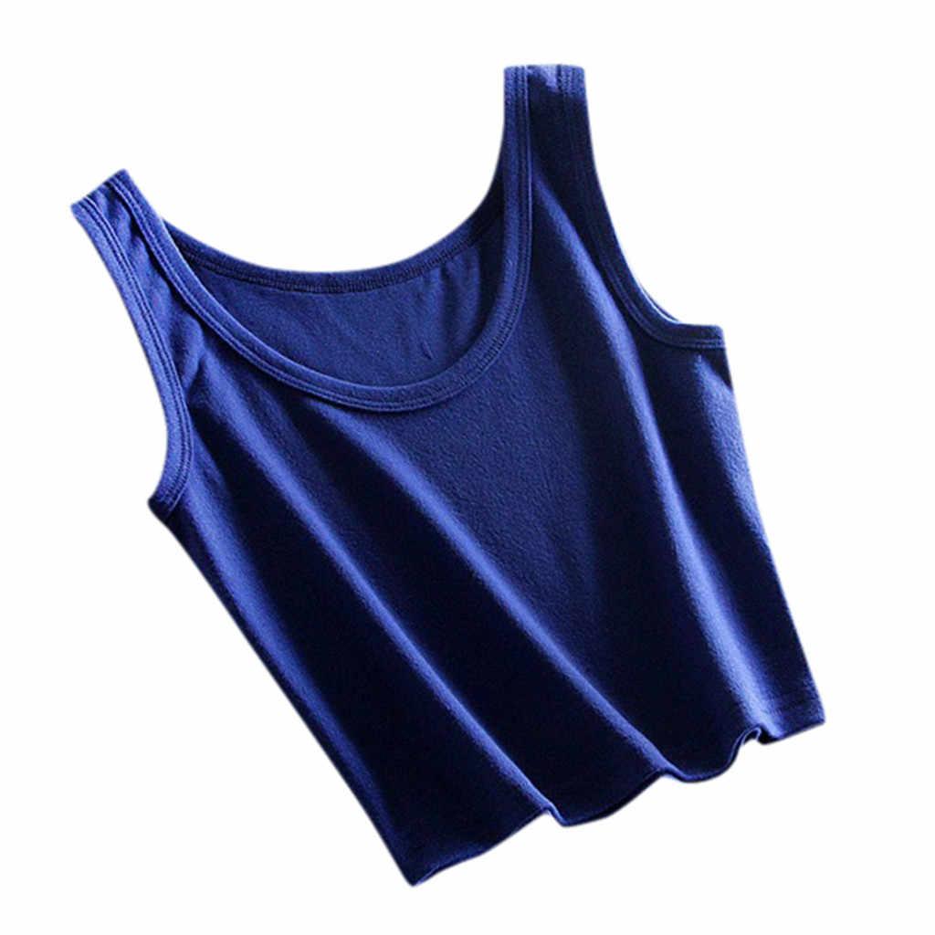 JAYCOSIN 固体ノースリーブタンク作物は、女性のキャミソール夏ホット販売固体の基本的な tシャツカジュアル女性戦車は、 tシャツシャツ Z0717