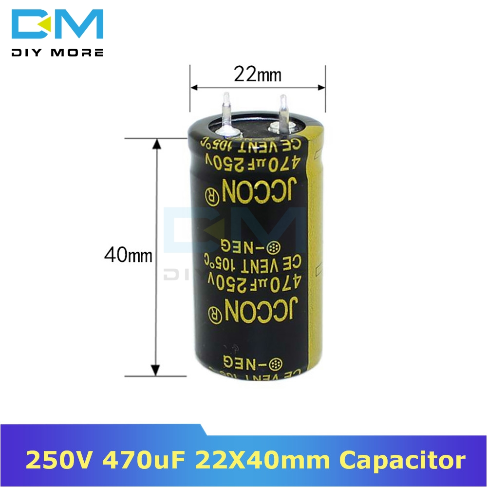 250V 470uF 22X40mm 22X40 Aluminum Electrolytic Capacitor High Frequency Low Impedance Through Hole Capacitor 22*40mm Diymore