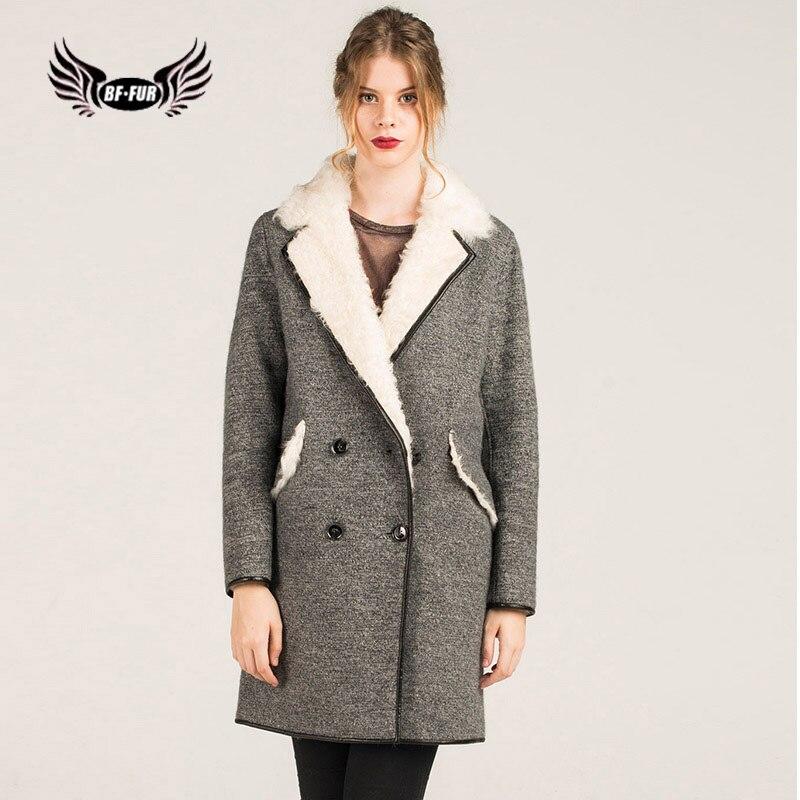 BFFUR Bureau Dame De Fourrure Veste Avec Turn-down Col Élégant de Haute Qualité, Plus La Taille Vêtements Élégant En Cuir Véritable laine Vestes