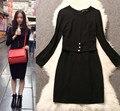 65% Cotton Summer Style Vestidos Elasticity White Black Long Sleeve Women Dress Slim Fit Brand  A1369