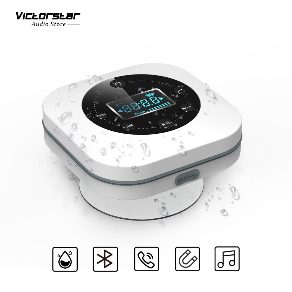Shower Bluetooth Speaker IPX4 Waterproof with Suction Cup, LCD Display, Built-in Mic, FM Radio, 1000mAh Reachargeable Battery