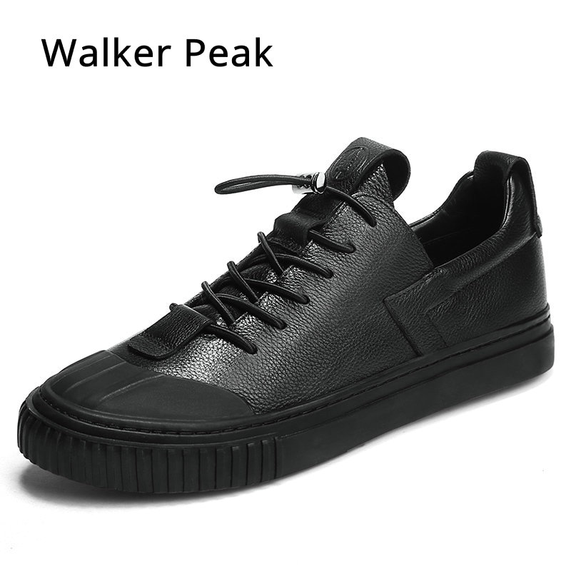 100% Genuine Leather Shoes Fashion Sneakers Men Casual Flat Shoes Rubber Round Sole Shoes Spring Autumn Leather Shoes Men