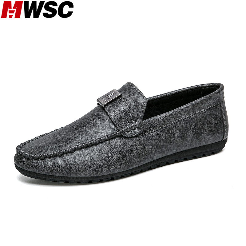 MWSC Men Casual Loafers Shoes 2018 Fashion Male Leather Loafer Moccasins Slip On Men's Flats Leisure Shoes 2017 autumn fashion men pu shoes slip on black shoes casual loafers mens moccasins soft shoes male walking flats pu footwear