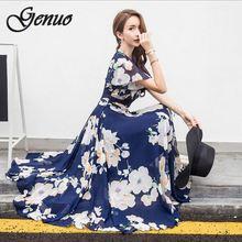 2019 New Dresses Of The Big Size Womens Short Sleeve Print Bohemian Boho Beach Chiffon Long Dress 5XL Plus Vestidos