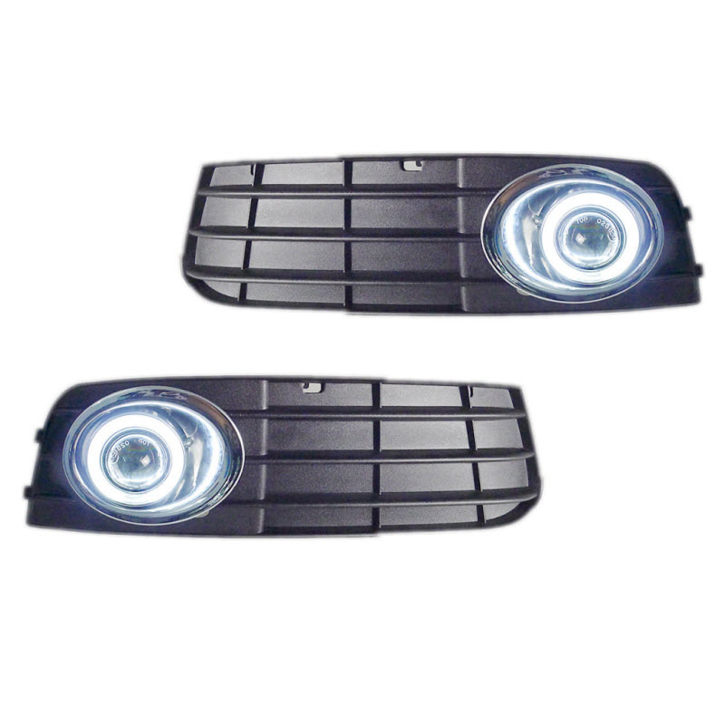 For Audi A4 B8 2008-2015 3-in-1 White Angel Eyes DRL Yellow Signal Light H11 Halogen / Xenon E13 Fog Lights Projector Lens for ford fiesta 2008 2012 3 in 1 white angel eyes drl yellow signal light h11 halogen xenon e13 fog lights projector lens