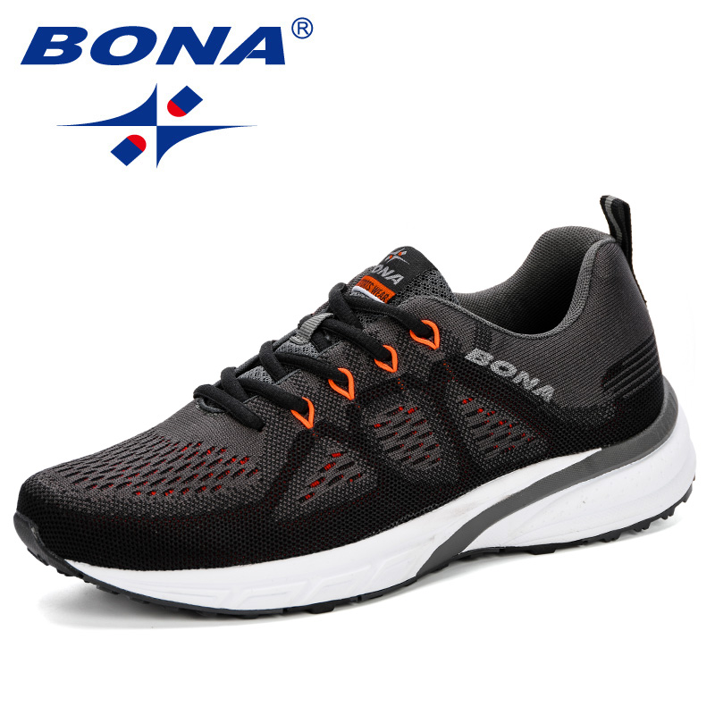 BONA 2019 Sneakers Men Shoes Sport Mesh Trainers Lightweight Baskets Femme Running Shoes Fly-Knitting Outdoor Athletic Shoes Men