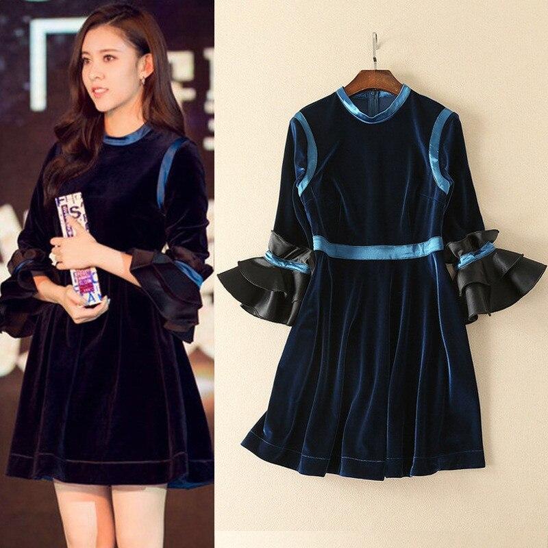 Popular Blue Velvet Dresses-Buy Cheap Blue Velvet Dresses lots ...