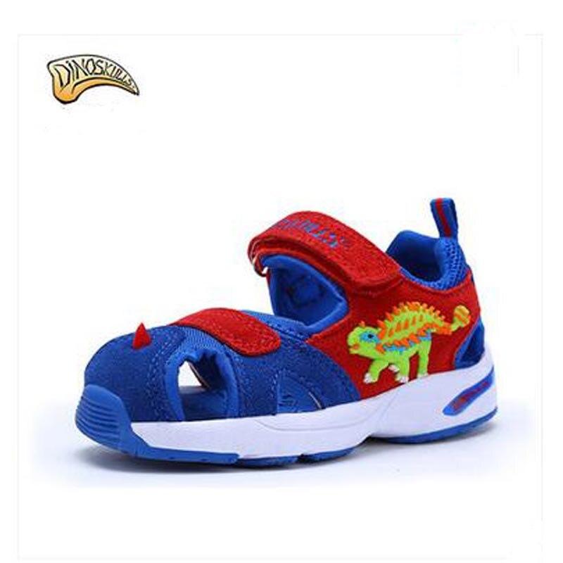 Dinoskulls Brand Kids Beach Sandals Toe Close Boys Girls Sandals Non-slip Children Sandals 3D Dinosaur Little Boys Summer Shoes