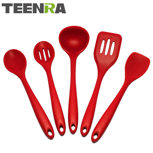 Genial TEENRA 5PCS Red Heat Resistant Kitchen Utensils Set Silicone Spatula Mixing  Spoon Turner Ladle Non