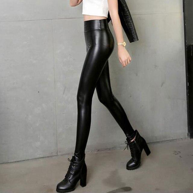 720e4c236ba Sexy Women PU Shiny High Rise Waist Pencil Pants Faux Leather Women Matte  Leggings Capris Club Dance Stage Wear Plus Size F24