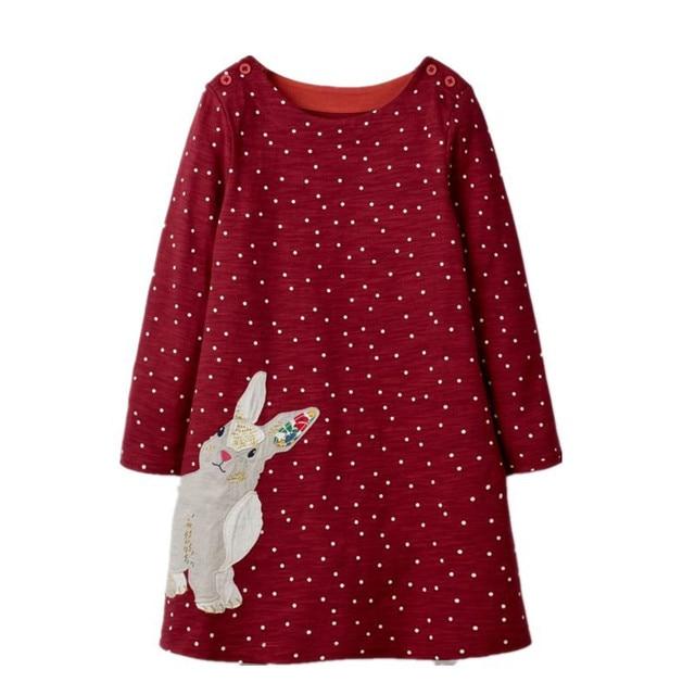 Vestido de niñas de manga larga vestidos de bebé de dibujos animados para niñas otoño niña ropa linda bebé princesa nuevo vestido de niños