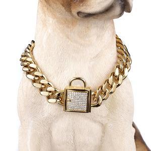 "Image 1 - 12 32 ""แฟชั่นสแตนเลสสีเงิน/ทอง Cuban Curb Link การฝึกอบรม Choke CHAIN สัตว์เลี้ยงสุนัข COLLAR คริสตัลล็อค Clasp"
