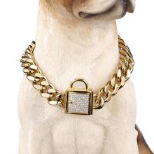 """12 32"""" Fashion Stainless Steel Silver Color/Gold Cuban Curb Link Training Choke Chain Pet Dog Collar With Crystal Lock Clasp"""