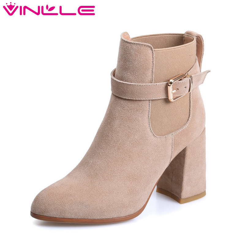 VINLLE 2018 Women Boot Ankle Boots Autumn Square High Heel Pointed Toe Cow Suede Buckle Ladies Motorcycle Shoes Size 34-39 vinlle 2018 women ankle boots shoes buckle cow suede square med heel pointed toe slip on ladies motorcycle shoes size 34 40