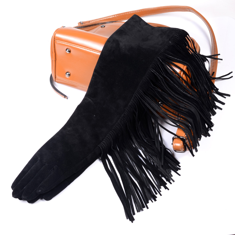 40cm-70cm Women's Ladies Real leather Suede Leather Tassels Gloves Overlength Party Evening long gloves