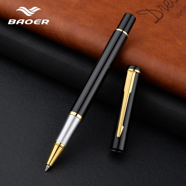 Luxury Rollerball Pen Baoer Gel Pen Metal Ball Ballpoint Pen  Papelar Boligrafo Stationery Material Escolar Volume boligrafos