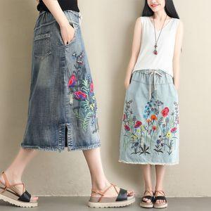 Image 5 - NYFS 2020 חדש קיץ בציר נשים ארוך ג ינס חצאית רקום ארוך חצאיות בציר ג ינס מכפלת פיצול עיפרון חצאיות