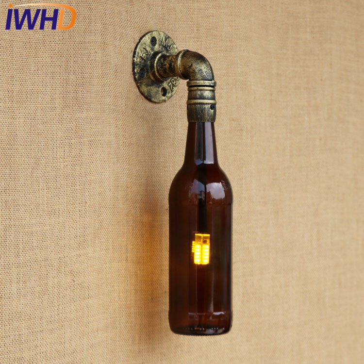 IWHD Antique Glass Bottle Water Pipe Wall Lamp Sconce LED Loft Style Industrial Vintage Wall Light Fixtures Indoor Lighting adnart flavour it glass water bottle with fruit infuser