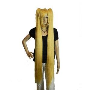 Image 2 - Strongbeauty女性のコスプレかつらダブルポニーテールロングストレート髪型2クリップオン合成耐熱性繊維かつら