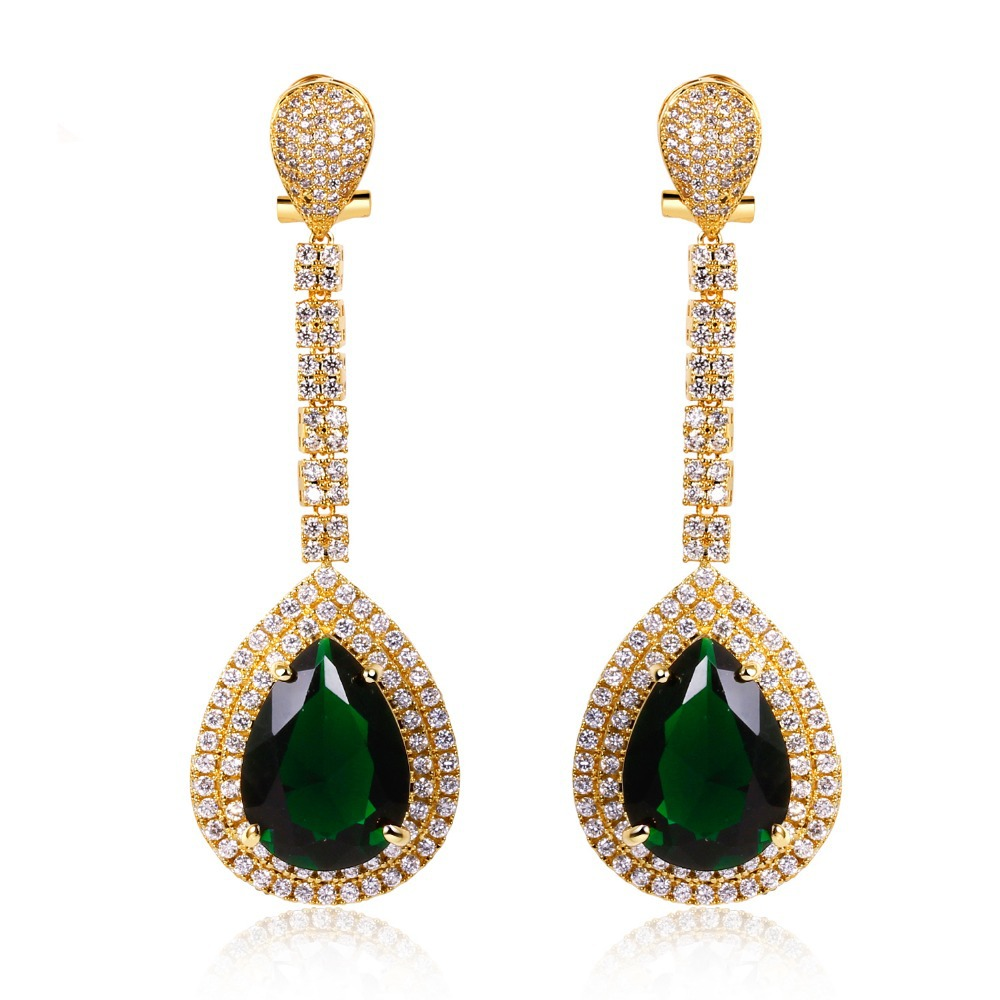 Wedding jewelry Long Earrings big Drop Earring gold color with Cubic zircon stone fashion jewelry High quality Free shipmentWedding jewelry Long Earrings big Drop Earring gold color with Cubic zircon stone fashion jewelry High quality Free shipment