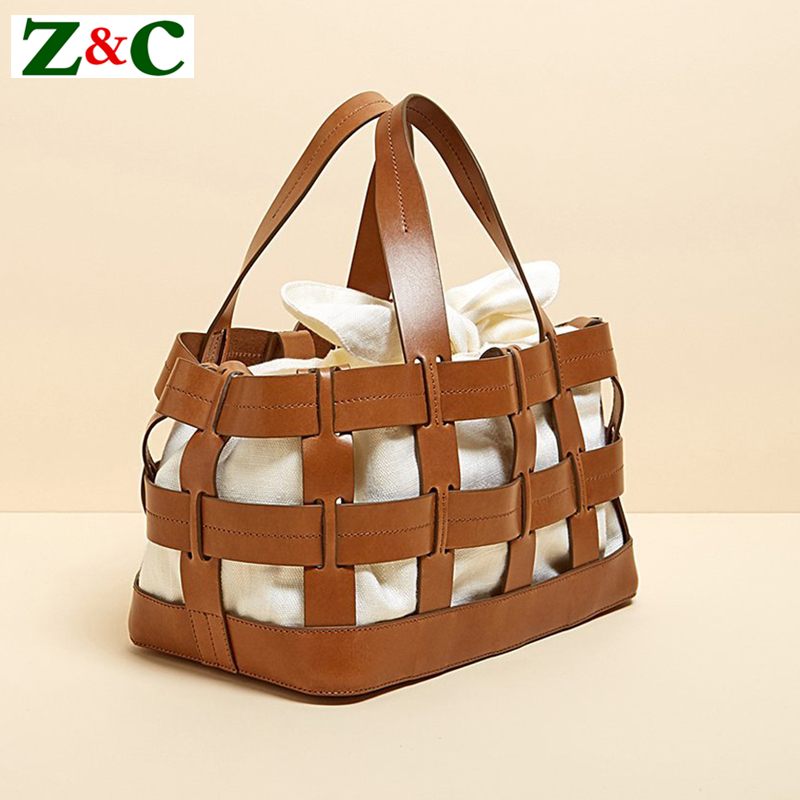 Unique Design Women Leather Canvas Women Big Tote Bag Knit Hollow Out Basket Bag Lady Brown Shopping Bucket Bags Famous Designer unique design women leather canvas women big tote bag knit hollow out basket bag lady brown shopping bucket bags famous designer