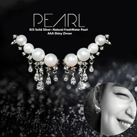 Natural pearl Jewelry 100% 925 sterling silver Luxury earrings with pearl for women super deal with gift box wholesale R&J