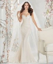 Free Shipping OEM Service Trumpet Sweetheart Corset Back Sweep Train Wedding Gown Mermaid Lace With Beadings ST11415