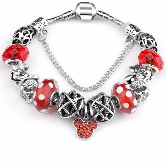 New European Antique  Pink Rhinestone Charms Handmade Bracelet fit Pa Bracelets & Bangles For Women