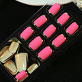 24pcs/Set French False Nail Short Deisgn Metal Frosted Full Cover Fake Nail Tips Nail Art Decal Manicure Tool with Glue